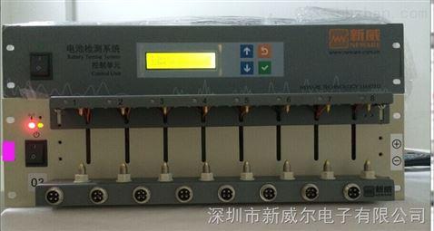 正在充放电测试中的电池分容柜