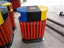 幼稚园垃圾桶 钢木垃圾箱 防腐木条果皮箱