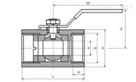 Q11F 型 一片式内螺纹球阀PN16~PN63外形尺寸图