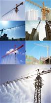 """""""降尘神器""""北京建筑工地在塔吊上安装喷淋喷雾系统来降尘"""
