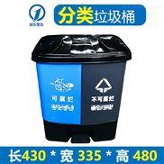 带盖脚踏双桶分类垃圾箱加厚30L塑料垃圾桶