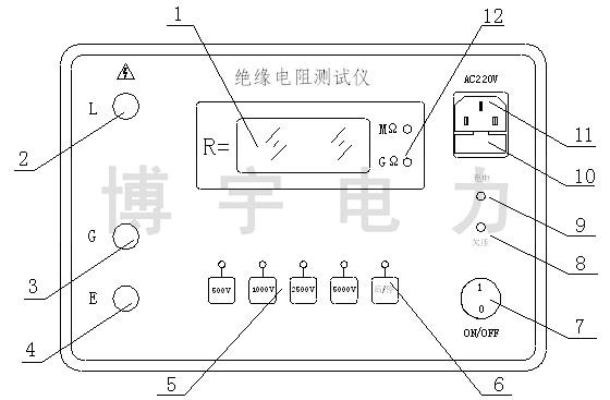 绝缘电阻测试仪 dc:0~5000v 200g(Ω) 短路电流≥3ma