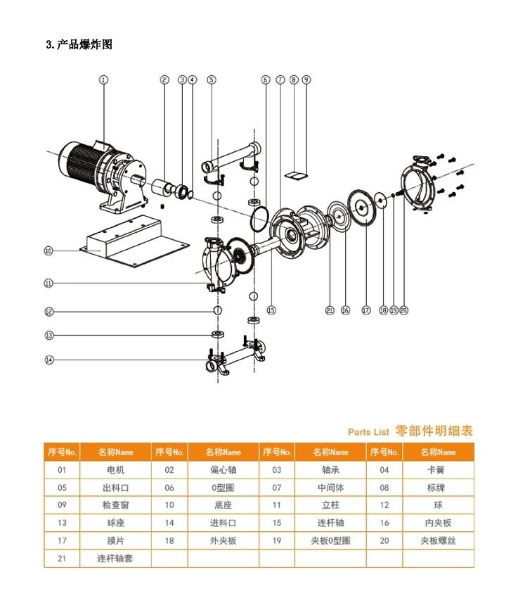 电动隔膜泵结构图